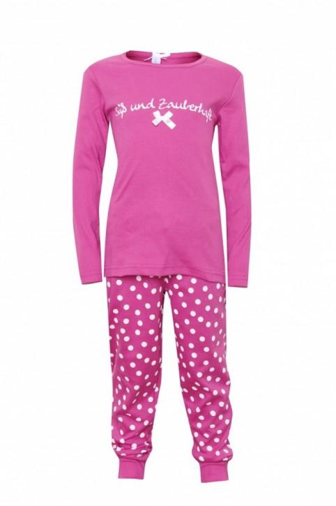 Louis & Louisa Mädchen Schlafanzug/Pyjama SÜSS UND ZAUBERHAFT Rippe pink / pink allover