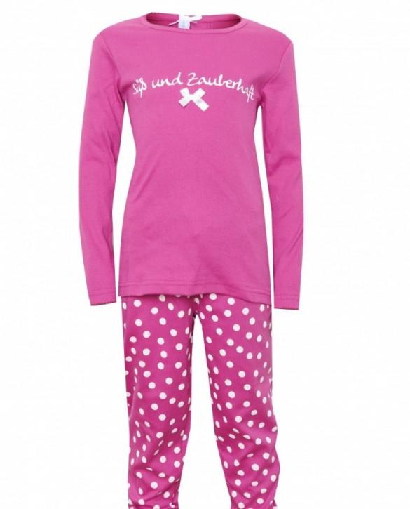 Louis & Louisa Mädchen Schlafanzug/Pyjama SÜSS UND ZAUBERHAFT pink / pink allover