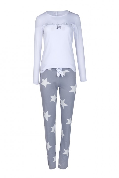 Louis & Louisa Damen Pyjama / Schlafanzug HIMMLISCHE MOMENTE  weiß/grau Sterne allover