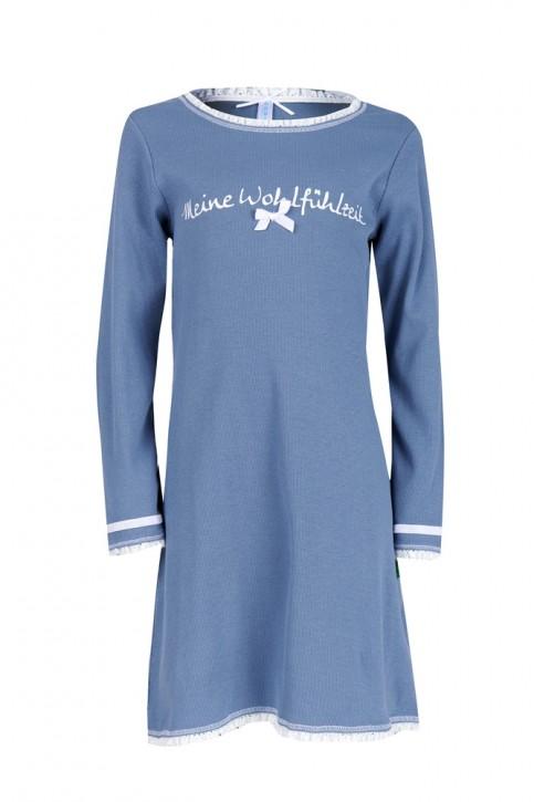 Louis & Louisa Mädchen Nachthemd MEINE WOHLFÜHLZEIT Rippe infinity blau
