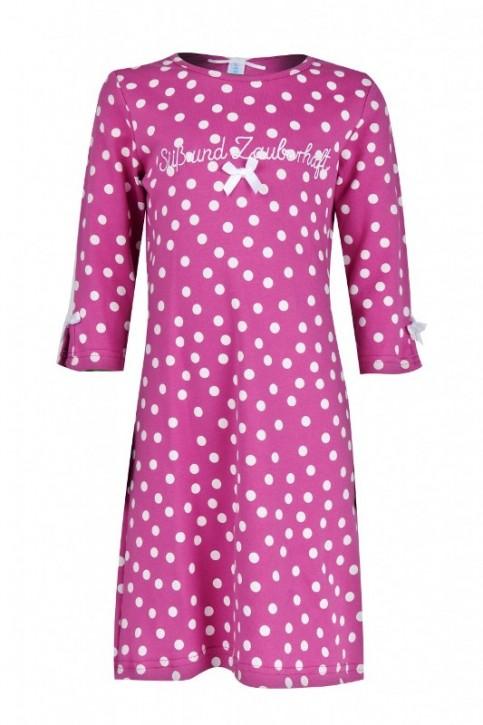 Louis & Louisa Mädchen Nachthemd SÜSS UND ZAUBERHAFT pink Punkte allover