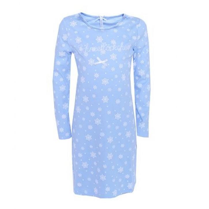 Louis & Louisa Mädchen Nachthemd SCHNEEFLÖCKCHEN blau