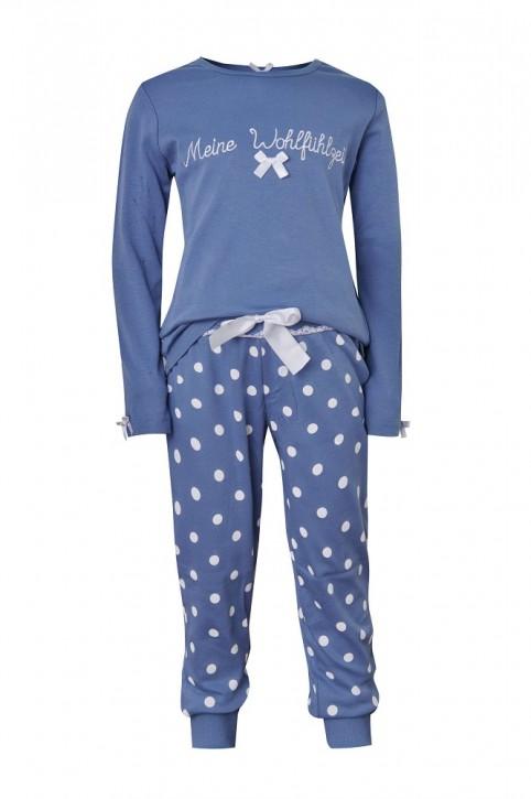Louis & Louisa Mädchen Pyjama / Schlafanzug MEINE WOHLFÜHLZEIT infinity blau allover
