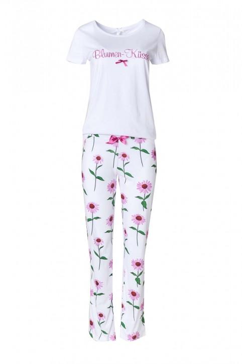 Louis & Louisa Damen Pyjama / Schlafanzug BLUMEN-KÜSSE weiß allover