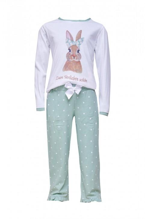 Louis & Louisa Mädchen Pyjama / Schlafanzug Hase Zum Verlieben schön weiß / jade allover