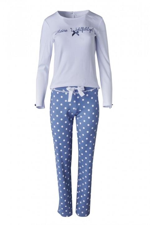Louis & Louisa Damen Pyjama / Schlafanzug MEINE WOHLFÜHLZEIT  weiß / infinity blue allover