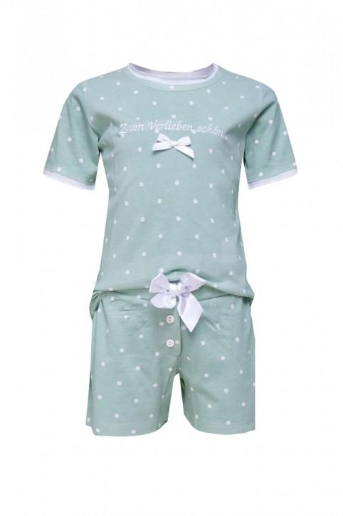 Louis & Louisa Mädchen Shorty/ Schlafanzug Zum Verlieben schön Punkte weiß/ jade allover