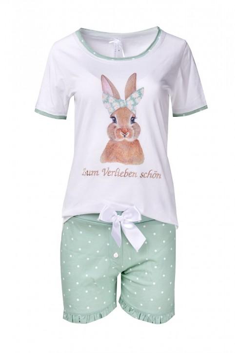 Louis & Louisa Mädchen Shorty/ Schlafanzug Hase Zum Verlieben schön weiß/ jade allover