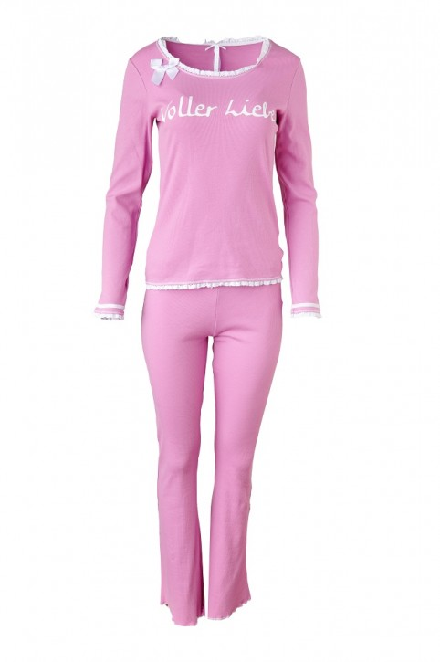 Louis & Louisa Damen Schlafanzug/Pyjama Rippe VOLLER LIEBE pink