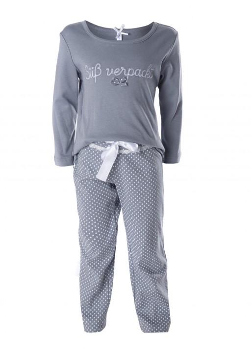 "Louis & Louisa Mädchen Schlafanzug/Pyjama ""Süß verpackt"" grau/allover"
