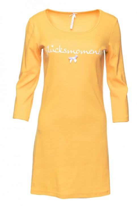 Louis & Louisa Damen Nachthemd Rippe GLÜCKSMOMENTE gelb
