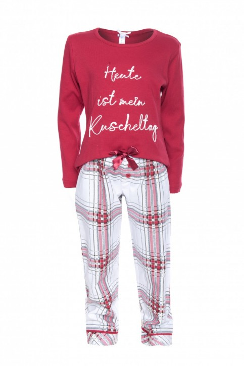 "Louis & Louisa Pyjama Damen Basic ""Heute ist mein Kuscheltag"", rot / flanell"