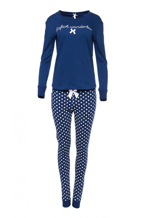 Louis & Louisa Damen Schlafanzug/Pyjama EINFACH WUNDERBAR blau/blau allover