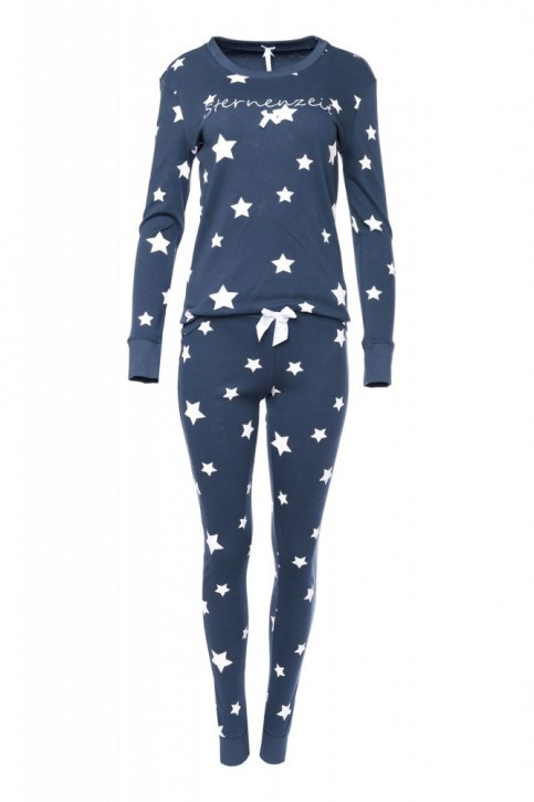 """Louis & Louisa Damen Schlafanzug/Pyjama """"Sternenzeit"""", antra allover"""