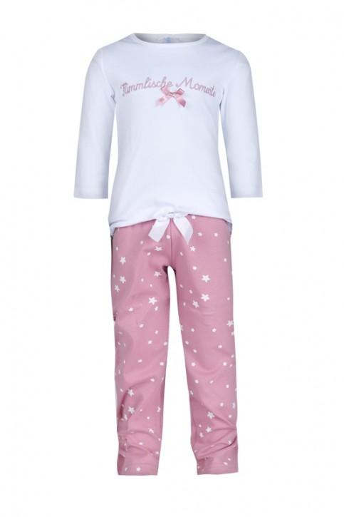 Louis & Louisa Mädchen Schlafanzug/Pyjama HIMMLISCHE MOMENTE weiss/rosa allover