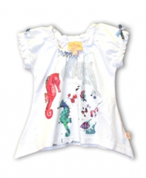 Pezzo D´oro long T-Shirt Fleur-de-Lis weiß