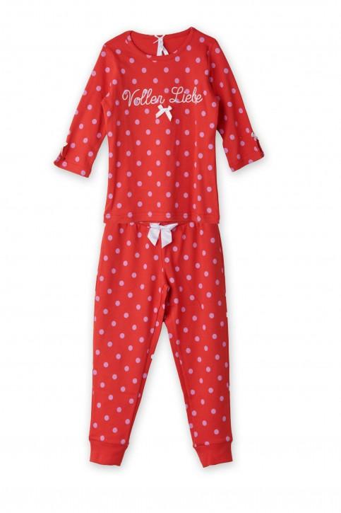 Louis & Louisa Mädchen Pyjama / Schlafanzug VOLLER LIEBE  rot allover