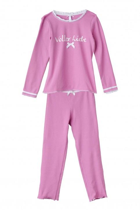 Louis & Louisa Mädchen Schlafanzug/Pyjama VOLLER LIEBE Rippe pink