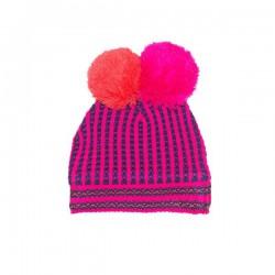 Mim-Pi Winter-Mütze Doppel-Bommel Streifen pink navy