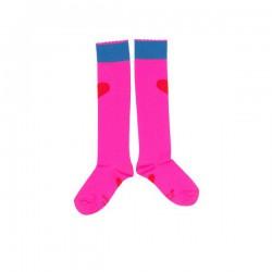 Mim-Pi Kniestrümpfe pink mit rotem Herz