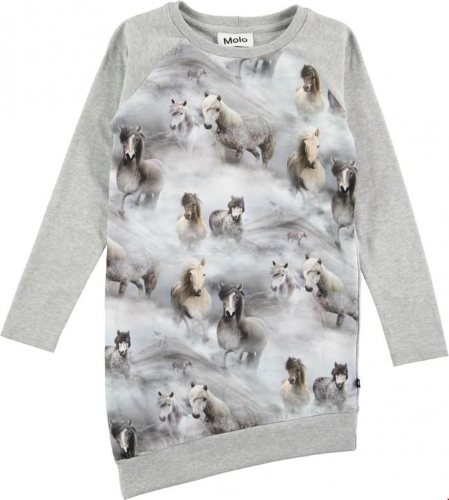 Molo Mädchen asymmetrisches Langarm-Kleid CINDELLE Pony jersey