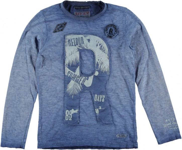 RETOUR DENIM Langarm-Shirt/Longsleeve CLIVE B indigo blue