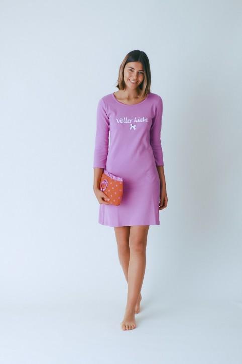 Louis & Louisa Damen Nachthemd Rippe VOLLER LIEBE pink