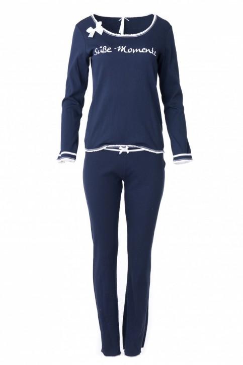 """Louis & Louisa Damen Schlafanzug/Pyjama Rippe """"Süße Moemente"""" dunkelblau"""