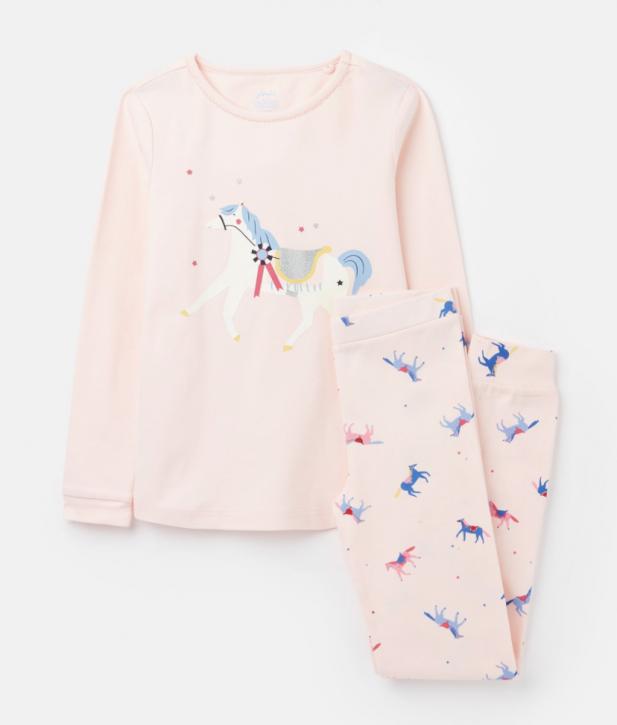 Joules Mädchen Pyjama/Schlafanzug SLEEPWELL Pferde rosa