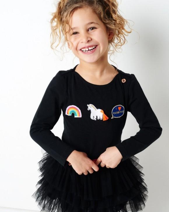 Mim-Pi Langarm-Shirt/Longsleeve Einhorn schwarz