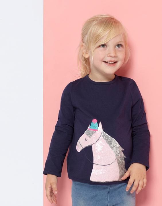 Joules Mädchen Langarm-Shirt/Longsleeve AVA LUXE Pferd