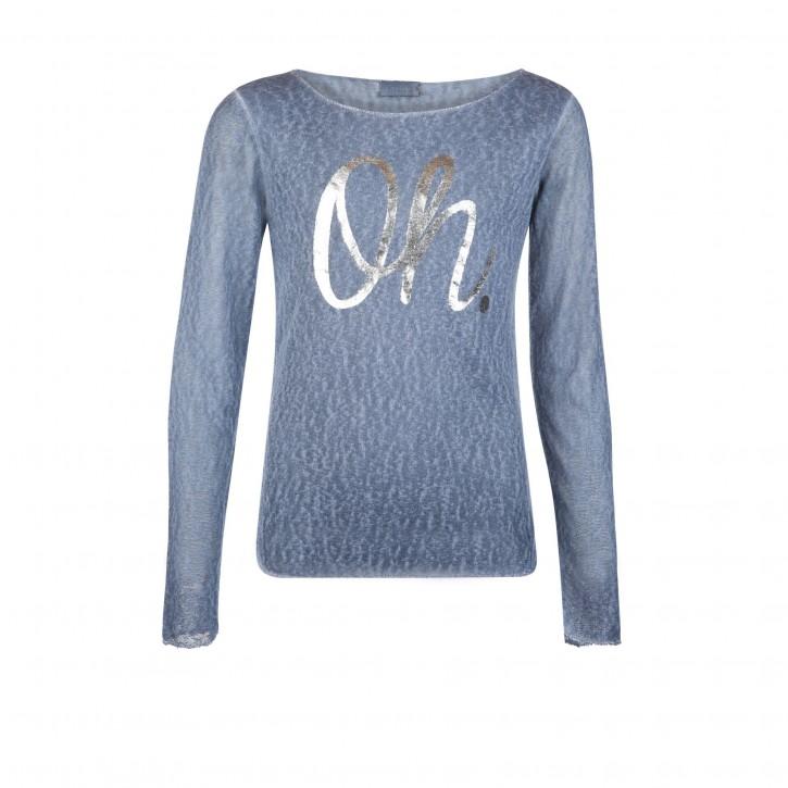 Geisha Langarm-Shirt/Longsleeve OH blau silber