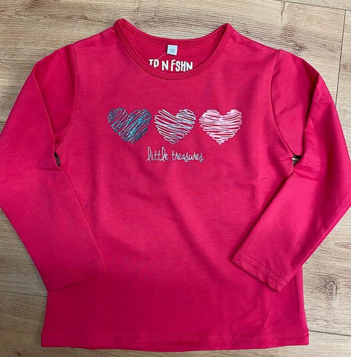 Topo Langarmshirt/Longsleeve Herzen pink