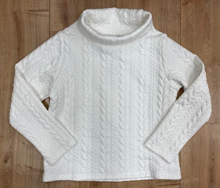 Topo Sweat-Shirt mit Zopfmuster weiß