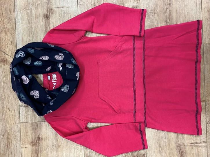 Topo Langarm-Kleid mit Loop pink