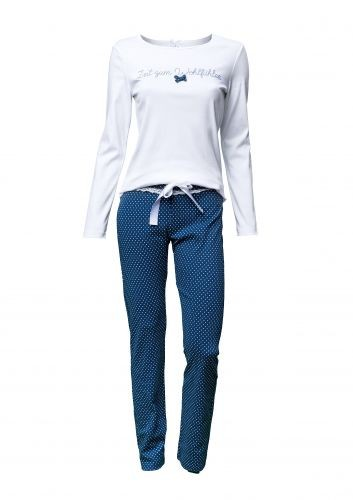 """Louis & Louisa Damen Schlafanzug/Pyjama """"Zeit zum Wohlfühlen"""", weiß/blau mit Pünktchen"""