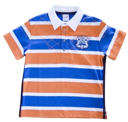 Whoopi Polo-Shirt Ringel orange-blau-weiss