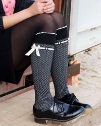 Bonnie Doon Damen Kniestrümpfe REFINED schwarz mit Schleife
