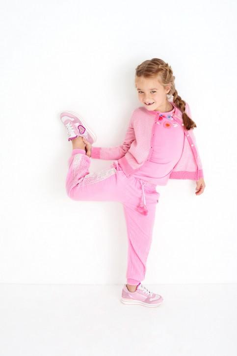 Mim-Pi Strickjacke/Cardigan rosa-weiß