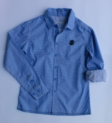 CKS Langarm-Hemd Bory blau mit Muster
