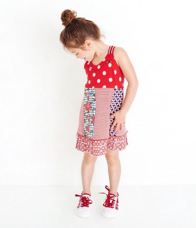 Mim-Pi Patchwork-Träger-Kleid rot-weiß-blau