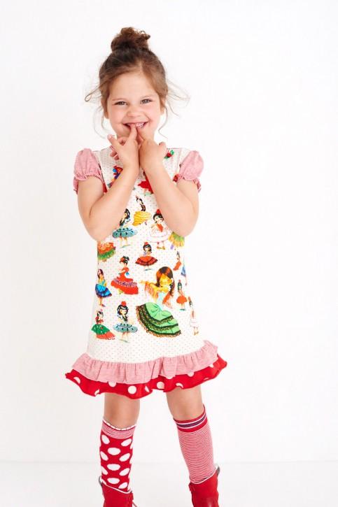 Mim-Pi Kurzarm-Kleid Flamenco-Tänzerinnen rot-weiß