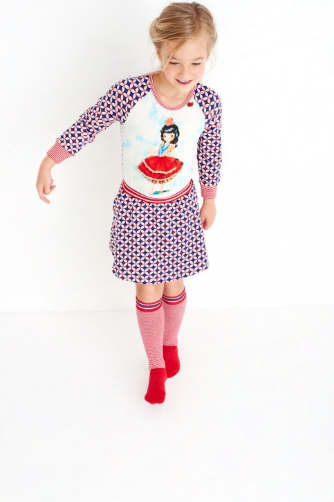 Mim-Pi Langarm-Kleid Flamenco-Tänzerin rot-weiß-blau