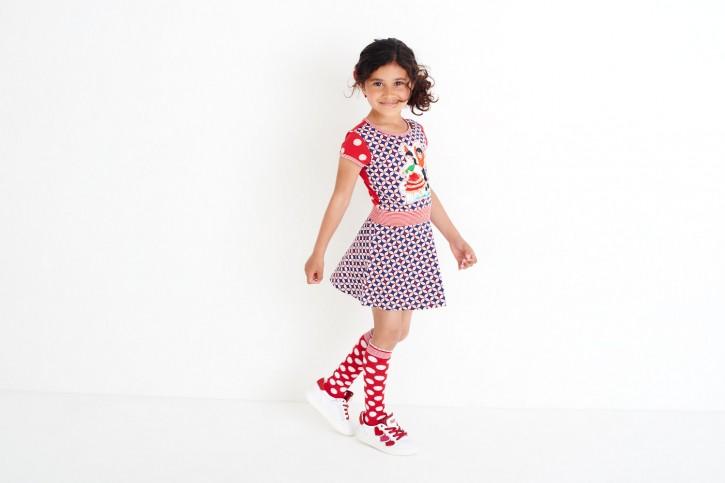 Mim-Pi Kurzarm-Kleid Flamenco-Tänzer rot-weiß-blau
