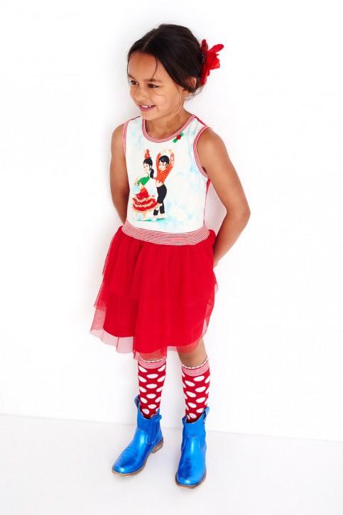 Mim-Pi Kleid Flamenco-Tänzer Tüllrock rot-weiß
