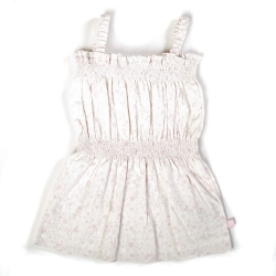 Ducky Beau Spaghettiträger Kleid weiss-rosa