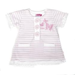 Ducky Beau Tunika / Kleid Streifen weiss-rosa
