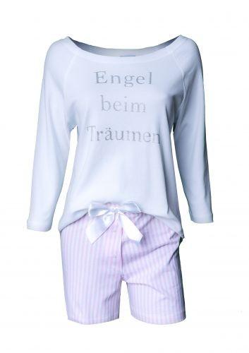 """Louis & Louisa Damen Schlafanzug/Shorty""""Engel beim Träumen"""", weiß/rosa gestreift"""