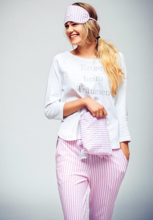 """Louis & Louisa Damen Schlafanzug/Pyjama """"Engel beim Träumen"""", weiß/rosa gestreift"""