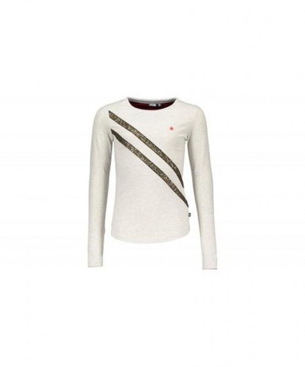 LIKE FLO Langarm-Shirt/Longsleeve goldglitzer-Streifen ecru mele